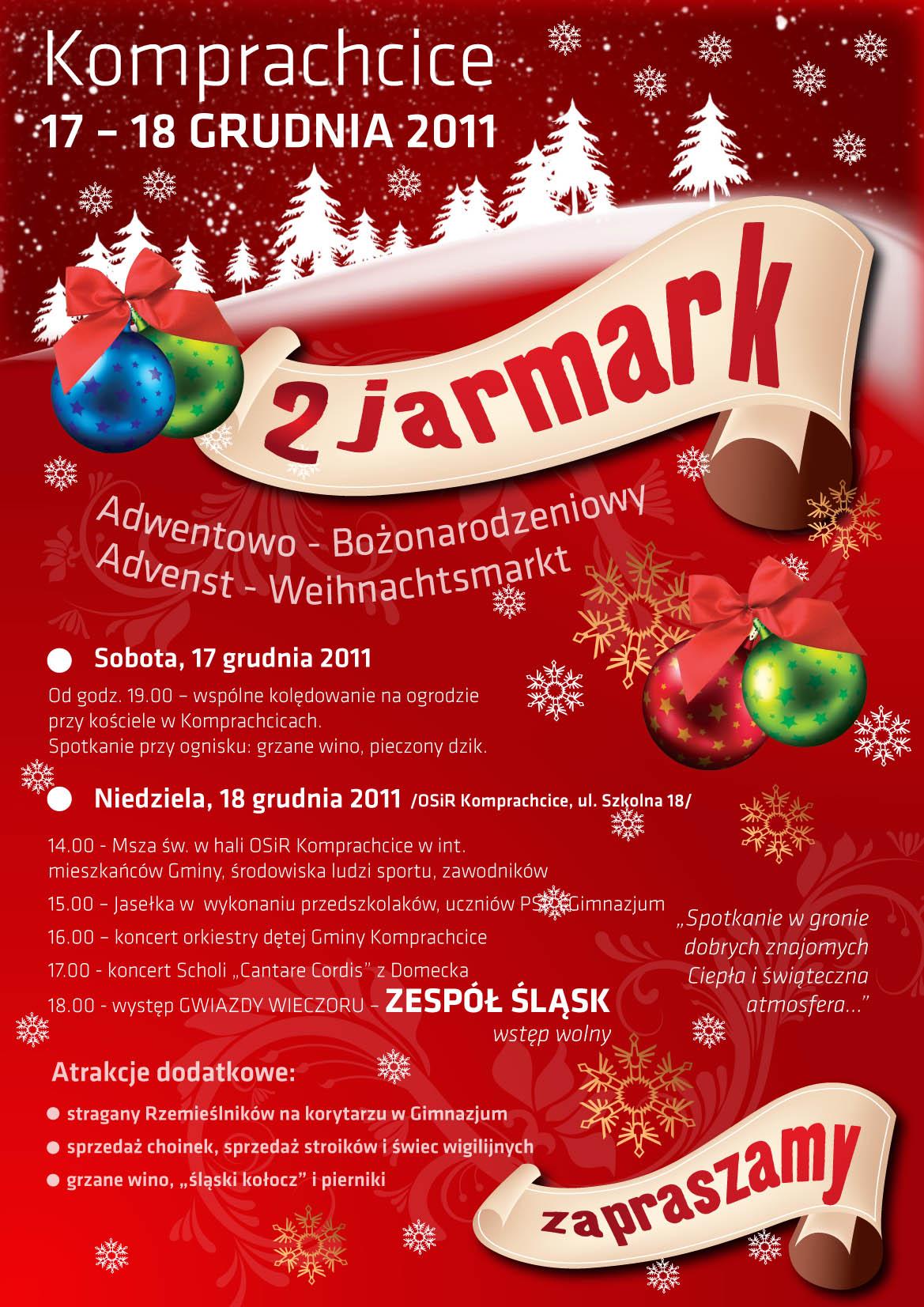 Program II Jarmarku Adwentowo-Bożonarodzeniowego w Komprachcicach
